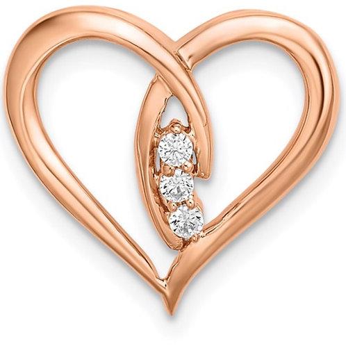 14k Rose Gold Diamond Polished Heart Chain Slide