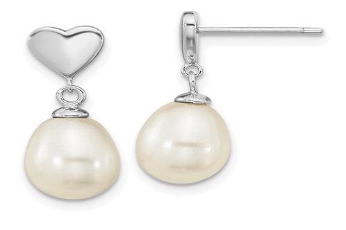 Sterling Silver Rho-plated 7x9mm White Teardrop FWC Pearl Dangle Earrings