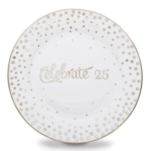 Porcelain And Silver-Tone Celebrate Plate