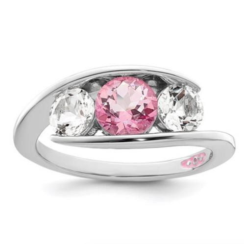 Sterling Silver Survivor Collection Clear/Pink Swarovski Topaz Journey Ring