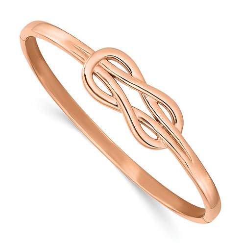 Stainless Steel Polished Rose IP-plated Knot Hinged Bangle