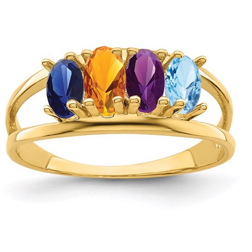 10ky Polished 4-Stone Mothers Ring Mounting