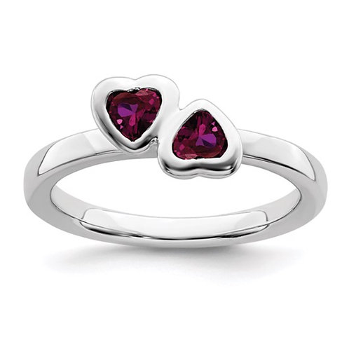 Sterling Silver Stackable Expressions Gemstone Double Heart Ring