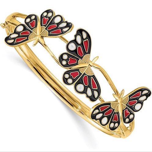 14K Polished Enameled Butterfly Hinged Bracelet