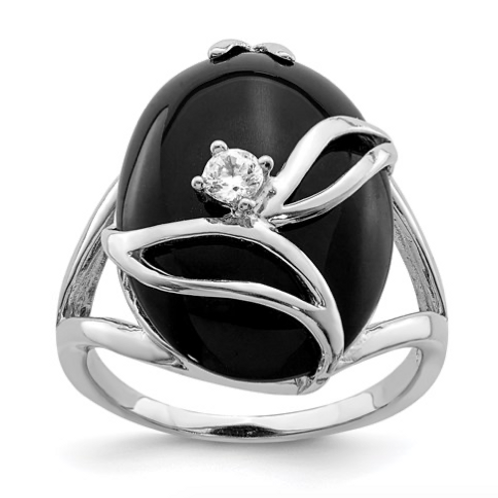 Sterling Silver Onyx And CZ Ring