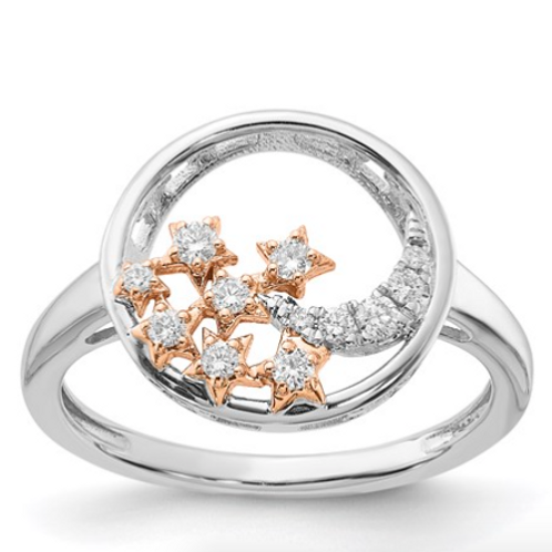 14k White And Rose Two-Tone Gold Moon And Stars Circle Diamond Ring