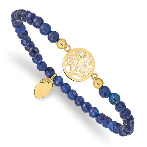 Stainless Steel Polished Yellow IP Tree of Life Blue Jade Stretch Bracelet