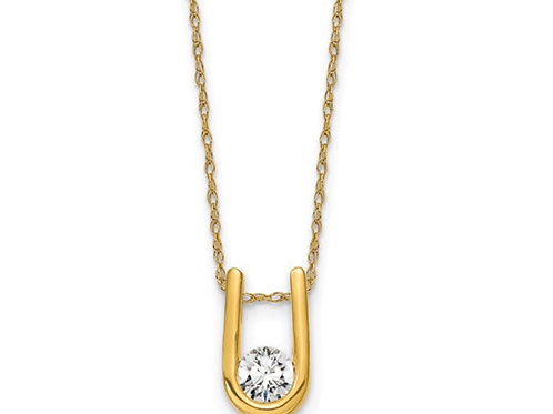 14k Lab Grown Diamond Pendant with Chain 1 RD .33ct Dia: LG