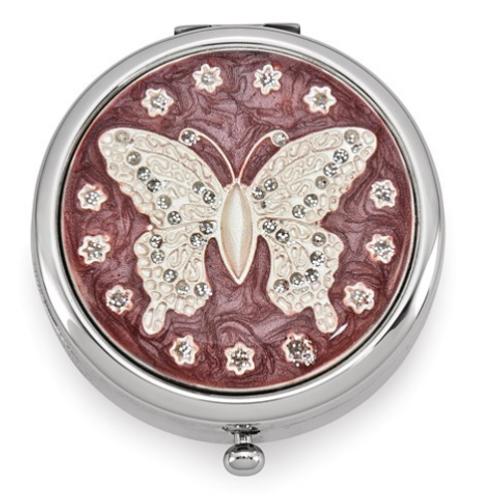 Silver-Tone Enamel Butterfly Pillbox
