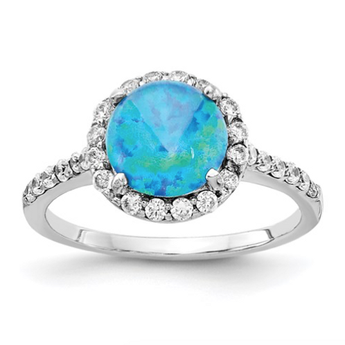 Cheryl M Sterling Silver Rhodium Plated Created Blue Opal And CZ Ring