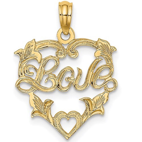 14K LOVE In Heart with Floral Design Charm