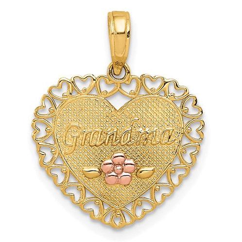14k Two-Tone GRANDMA Heart with Flower Charm