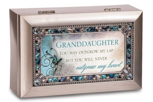 Granddaughter Sentiment Silvertone Jeweled Petite Music Box