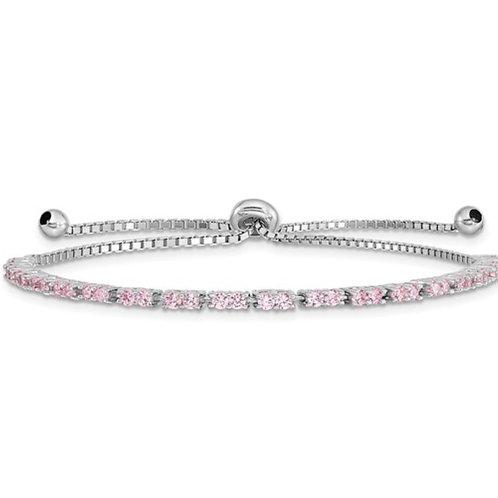 Sterling Silver Rhod-plated October Pink CZ Adjustable Bracelet