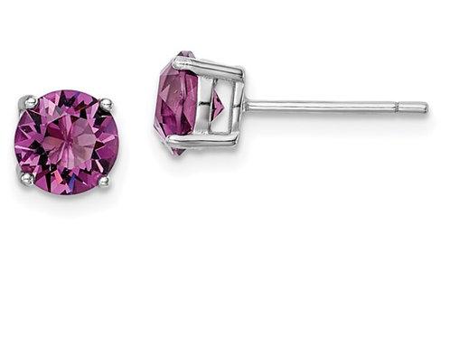 Sterling Silver Rhod-pltd Purple Swar Crystl Birthstone Earrings