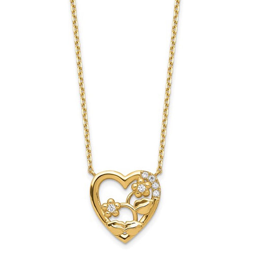 14K Heart with Flowers and CZ with 2IN EXT Necklace