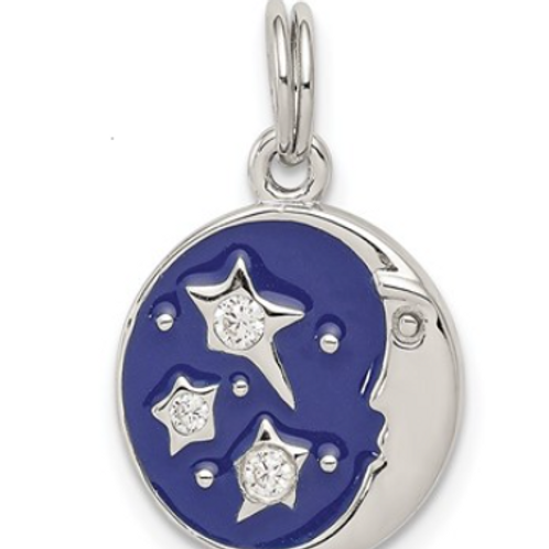 Sterling Silver Enameled and CZ Moon and Star Charm