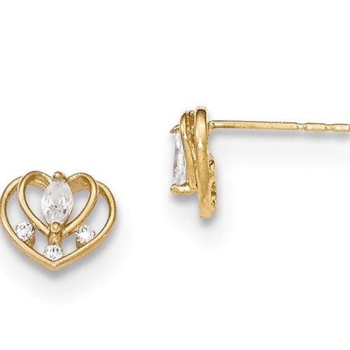 14K Madi K Polished CZ Double Heart Post Earrings
