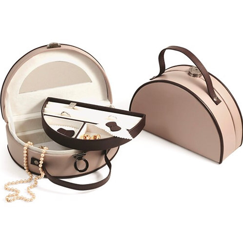 Taupe and Brown Leather Two Level Jewelry Box