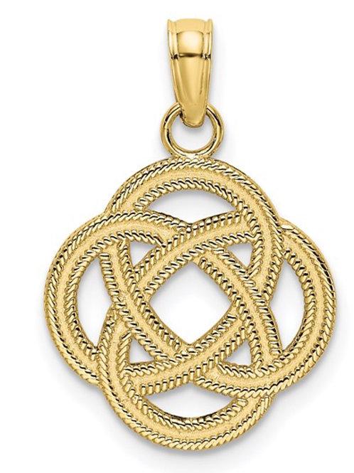 10K Small Celtic Eternity Knot Circle Charm