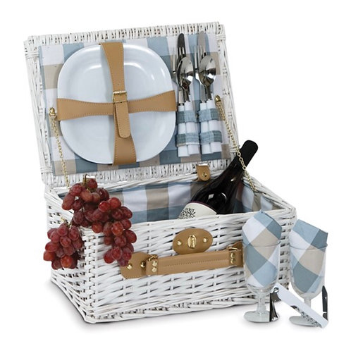 Boothbay 2 Person White Picnic Basket