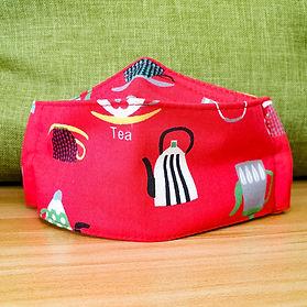 Children's Boat Mask - Red Tea Pot Design - Front View