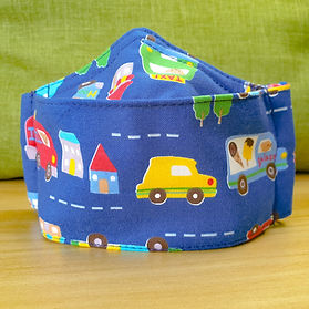 Children's Boat Mask - Blue Colourful Transport - Front View
