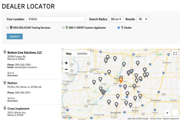 Dealer Locator Screen Shot