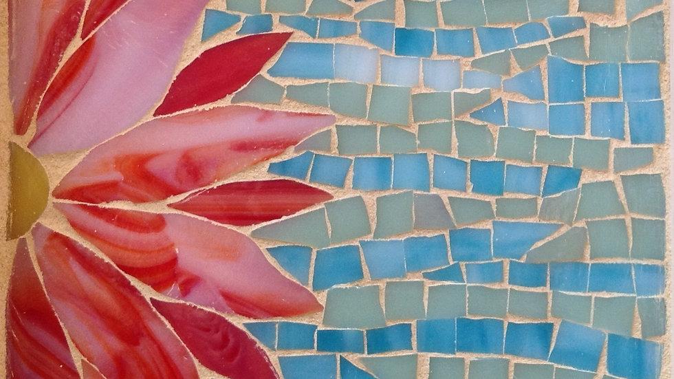 Flower design mosaic tray