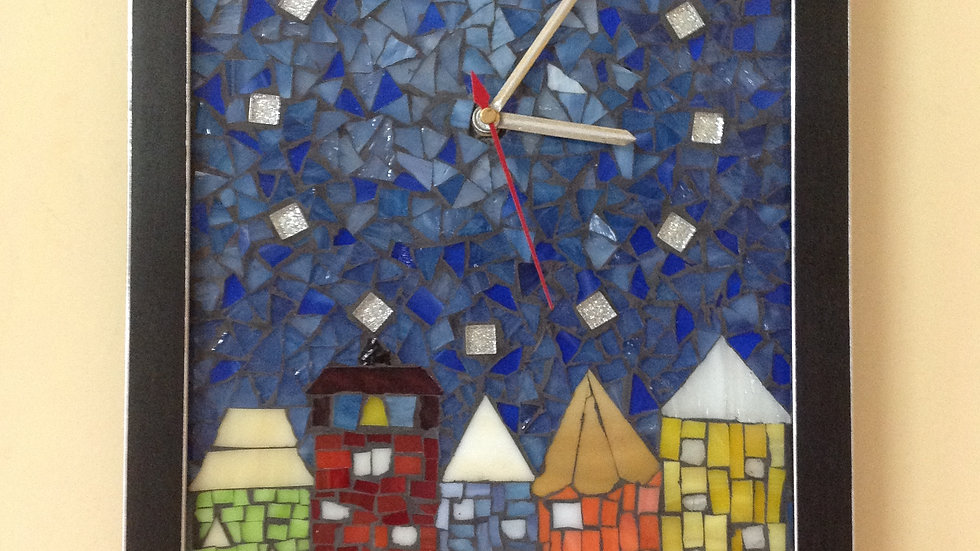Moonlit Cityscape mosaic wall clock
