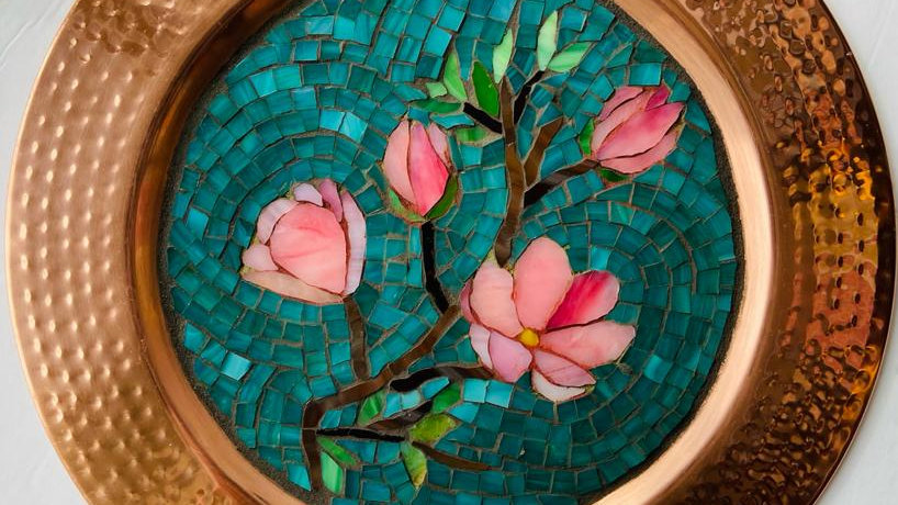 Magnolia flowers copper plate