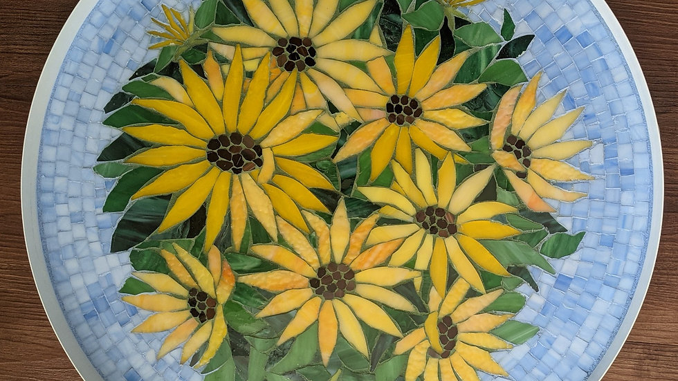 Sunflowers mosaic coffee table