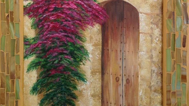 Spanish Doorway and bougainvillea