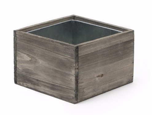 "Wood Square Planter Box 6"" x 6"" x 4"""