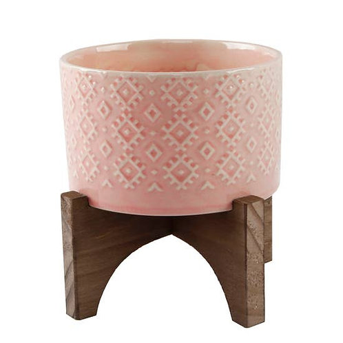 "5"" Indian Ceramic Planter On Wood Stand (Pink)"