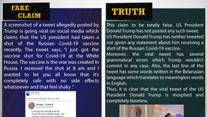 Fake News #F177 -  US president had taken a shot of the Russian Covid-19 vaccine