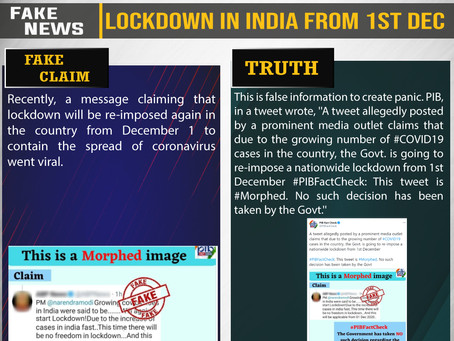 Fake News #F206 - Lockdown in India from 1st Dec