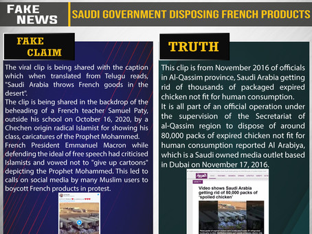 Fake News #F196 - Saudi Government Disposing French Products