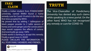 Fake News#F137 - Student From Pondicherry Find COVID-19 Home Remedy