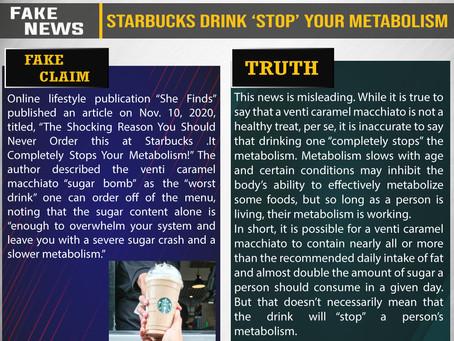 Fake News #F209 - Starbucks Drink 'Stop' Your Metabolism