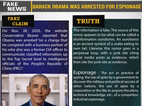 Fake News #F210 - Barack Obama was arrested for espionage.