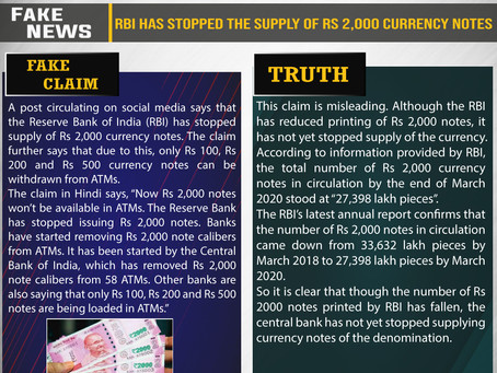 Fake News #F212 - RBI has stopped the supply of Rs 2,000 currency notes
