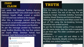 Fake News #F186 - All top 5 rank holders of 2020 NEET exam are Muslims