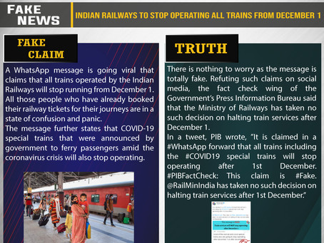 Fake News #F203 - Indian Railways to Stop Operating All Trains From December 1