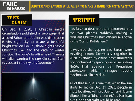 "Fake News #F214 - Jupiter and Saturn will align to make a rare ""Christmas star"""