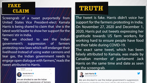 Fake News #F211 - Kamala Harris  attacked Indian government on farmers stir