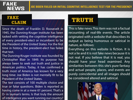 Fake News #F213 - Joe Biden failed an initial cognitive intelligence test for the presidency