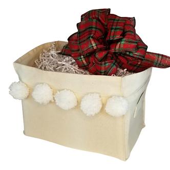 Holiday Canvas Box - Tartan Plaid Bow