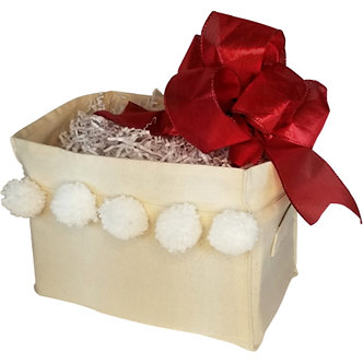 Holiday Canvas Box - Red Bow