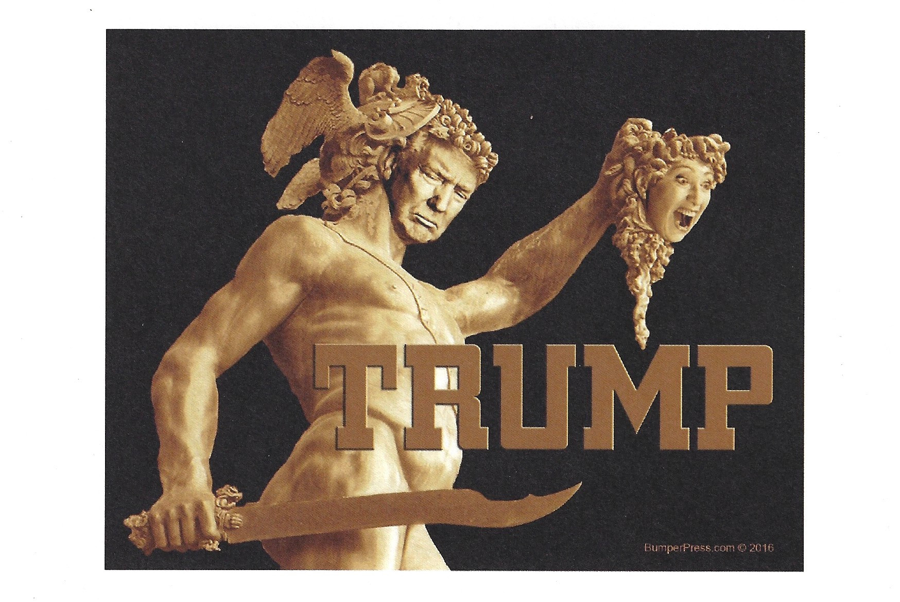 Trump as Perseus and Decapitated Hillary as Medusa